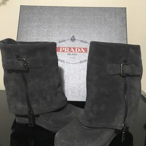 Prada fold over wedge boots